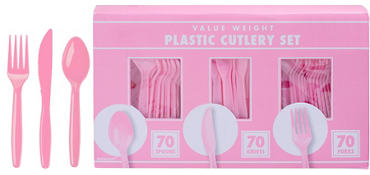 Pink Plastic Cutlery Set 210ct