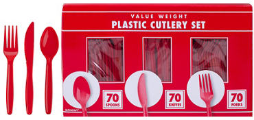 Red Plastic Cutlery Set 210ct