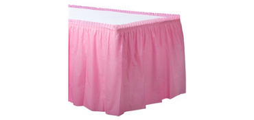 Pink Plastic Table Skirt
