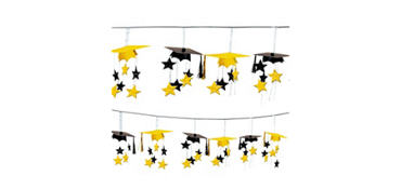 Yellow 3D Grad Cap Graduation Garland 12ft