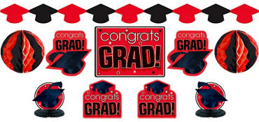 Red Graduation Decorating Kit 10pc