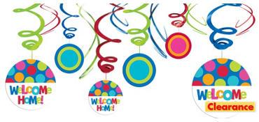 Welcome Home Swirl Decoration 12ct - Cabana Polka Dot