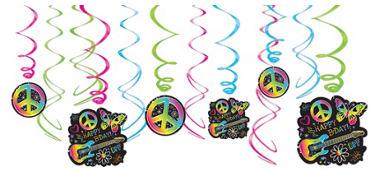 Neon Doodle Swirl Decorations 12ct