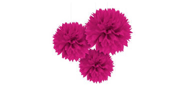 Bright Pink Fluffy Decorations 3ct