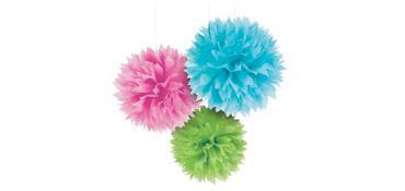 Multicolor Fluffy Decorations 3ct
