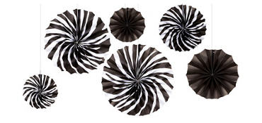 Zebra Mini Fan Decorations 5ct