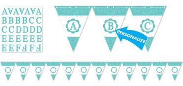 Robin's Egg Blue Personalize It Pennant Banner Kit 28pc