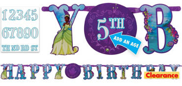 Princess and the Frog Blue Birthday Banner