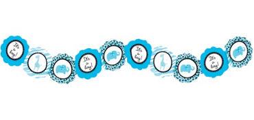 Blue Safari Printed Baby Shower Garland 8ft