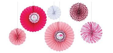 Pink Safari Baby Shower Paper Fan Decorations 6ct
