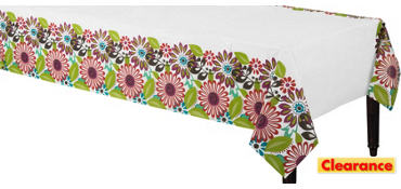 Modern Floral Paper Table Cover 54in x 102in