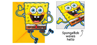 Premium Waving SpongeBob Invitations 8ct