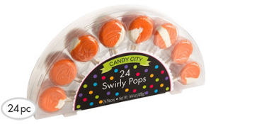 Swirly Orange Lollipops 24pc