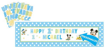 Personalized Mickey Mouse Birthday Banner