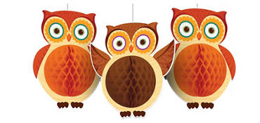 Owl Honeycomb Balls 3ct