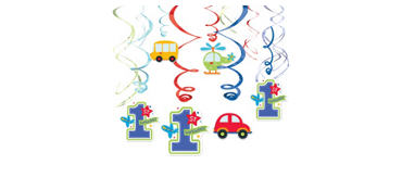 All Aboard 1st Birthday Swirl Decorations 12ct