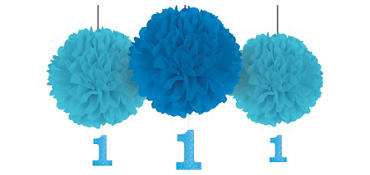 Blue 1st Birthday Fluffy Decorations with Glitter Cutouts 3ct