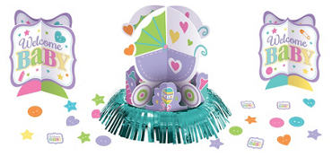 Bright Carriage Baby Shower Table Decorating Kit 23pc