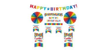 Customizable Rainbow Birthday Room Decorating Kit