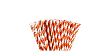 Orange Striped Paper Straws 80ct