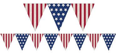 Patriotic Burlap Pennant Banner - Rustic Americana