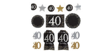 40th Birthday Room Decorating Kit 10pc - Sparkling Celebration
