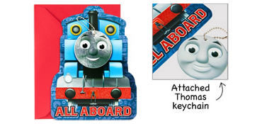 Premium Thomas the Tank Engine Invitations with Keychains 8ct