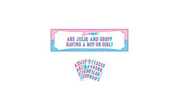 Giant Girl or Boy Gender Reveal Personalized Banner Kit