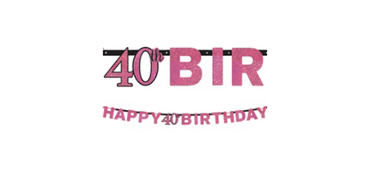 Prismatic 40th Birthday Banner - Pink Sparkling Celebration