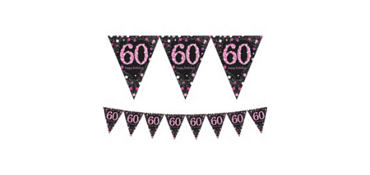 Prismatic 60th Birthday Pennant Banner - Pink Sparkling Celebration