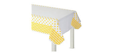 Sunshine Yellow Polka Dot & Chevron Plastic Table Cover