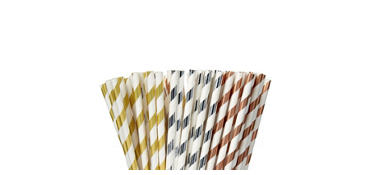 Metallic Striped Paper Straws 80ct