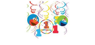 1st Birthday Elmo Swirl Decorations 12ct