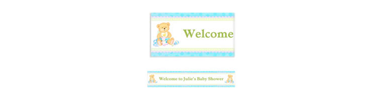 Custom Precious Bear Blue Baby Shower Banner 6ft