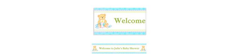 Custom Precious Bear Blue Baby Shower Banner 6ft