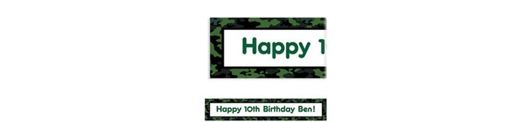 Camouflage Custom Birthday Banner