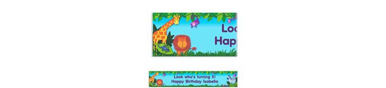 Jungle Animals Custom Birthday Banner 6ft