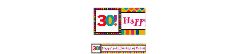 Birthday Dots & Stripes 30 Custom Banner 6ft