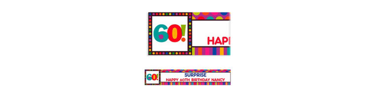 Custom Birthday Dots & Stripes 60th Banner 6ft