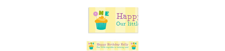 Custom Lined Up Cupcakes Banner 6ft