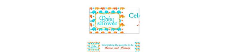 Custom Baby Elephant Pattern Boy Baby Shower Banner 6ft