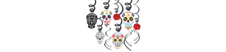 Sugar Skull Day of the Dead Swirl Decorations 30ct