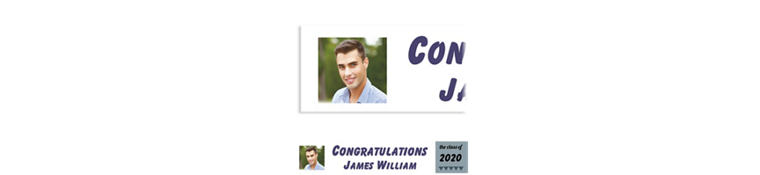 Custom Gray Pennant Banner Graduation Photo Banner