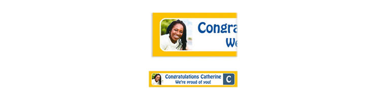 Custom Gold Color Block Initial Graduation Photo Banner
