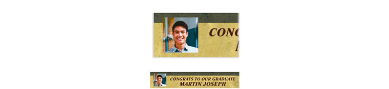 Custom Gold & Gray Textured Graduation Photo Banner