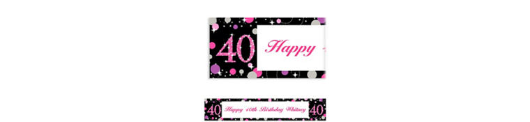 Custom Pink Sparkling Celebration 40 Banner