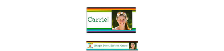 Custom Rainbow 16th Birthday Photo Banner