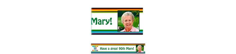 Custom Rainbow 90th Birthday Photo Banner