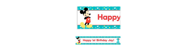 Custom Mickey's 1st Birthday Banner