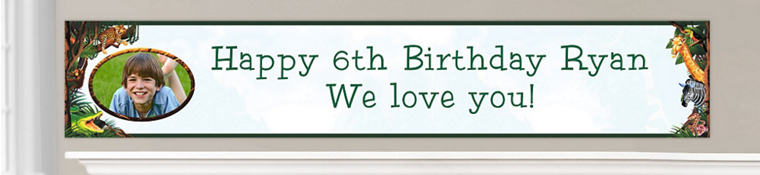 Custom Jungle Animals Birthday Banners